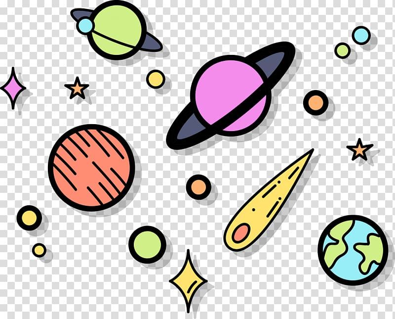 Planets and star illustration, Euclidean Outer space , Space.