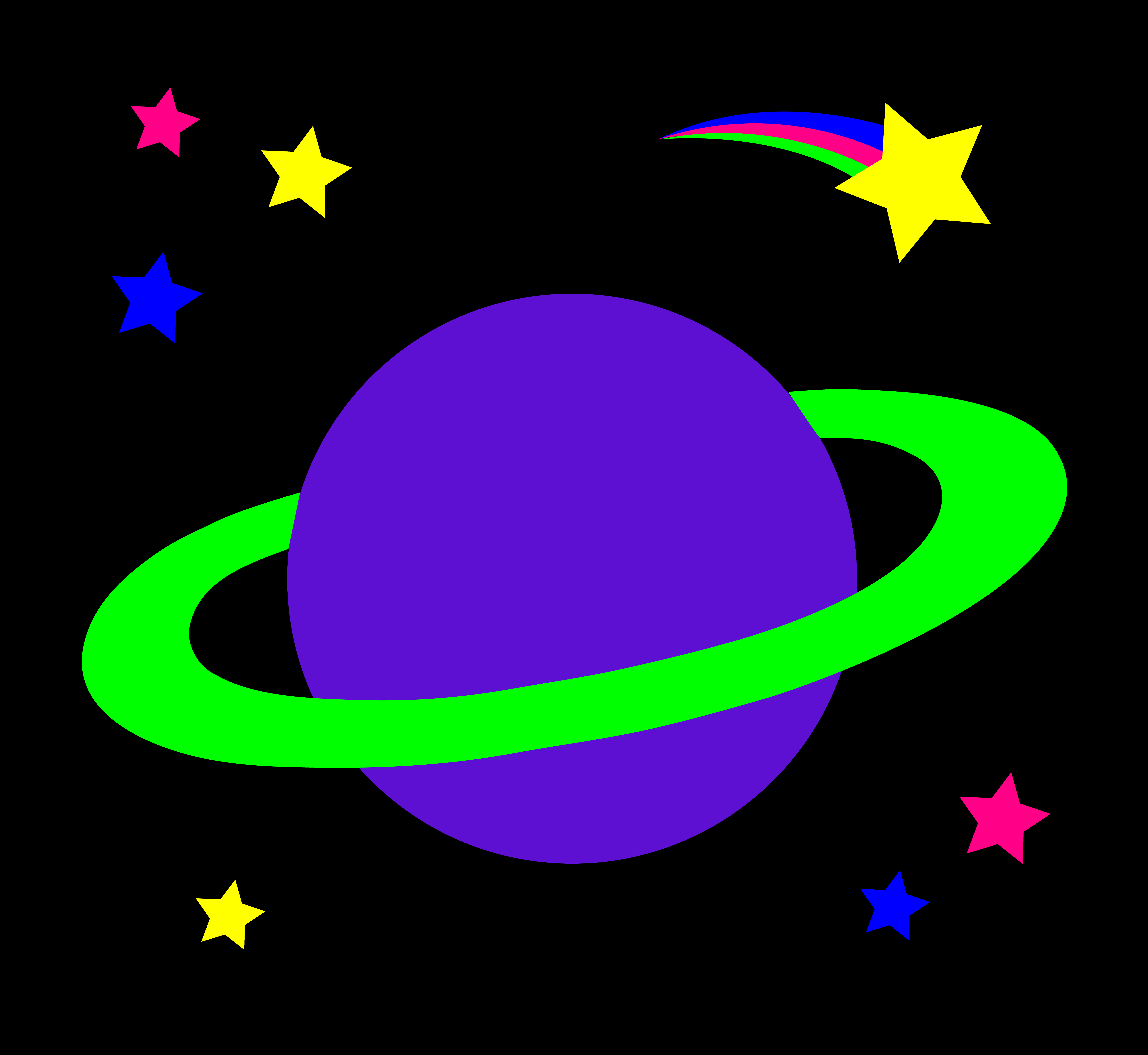 Cartoon Planets and Stars Clipart.