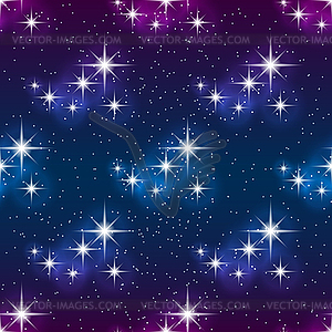Night sky with stars, seamless pattern. Modern styl.