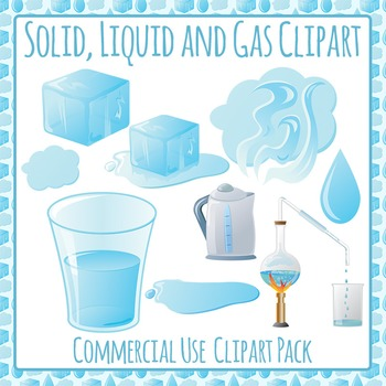 Solid, Liquid and Gas (States of Matter) Clip Art for Commercial Use.