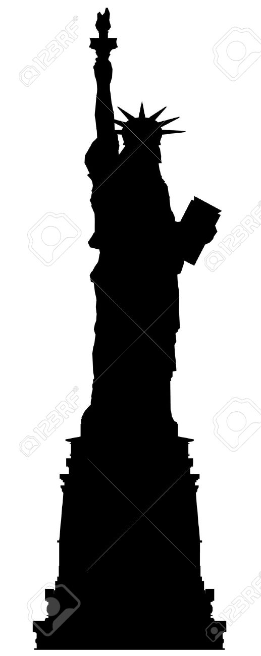 Statue Of Liberty Vector Outline Silhouette Royalty Free Cliparts.