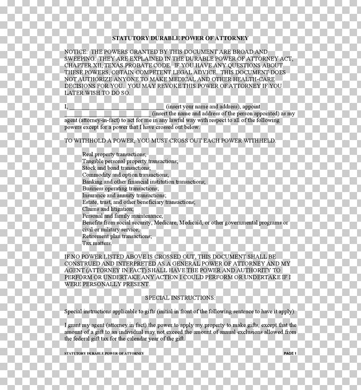 Power Of Attorney Texas Document Form Healthcare Proxy PNG.