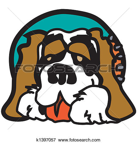 Clip Art of St. Bernard Dog Clip Art Graphic k1397057.