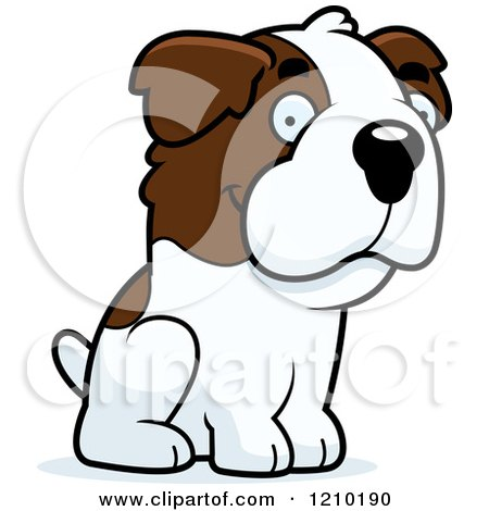 Clipart of a Happy St Bernard Dog Standing.