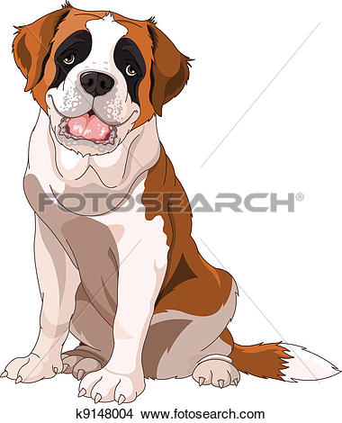 Clipart of St. Bernard Dog k9148004.