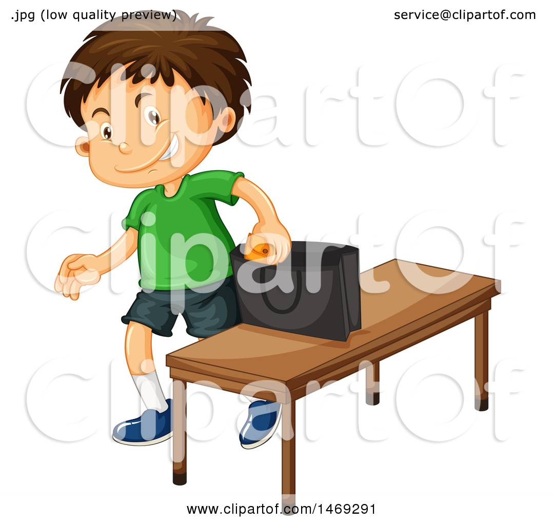 Clipart of a Boy Stealing.