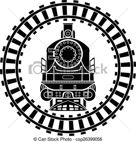 Clip Art of Old style locomotive.