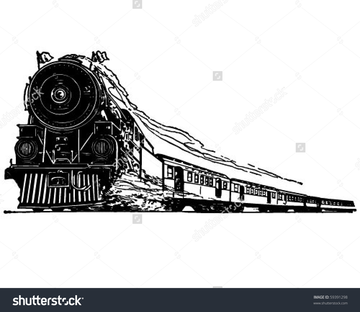 Steam Locomotive Retro Clip Art Stock Vector 59391298.