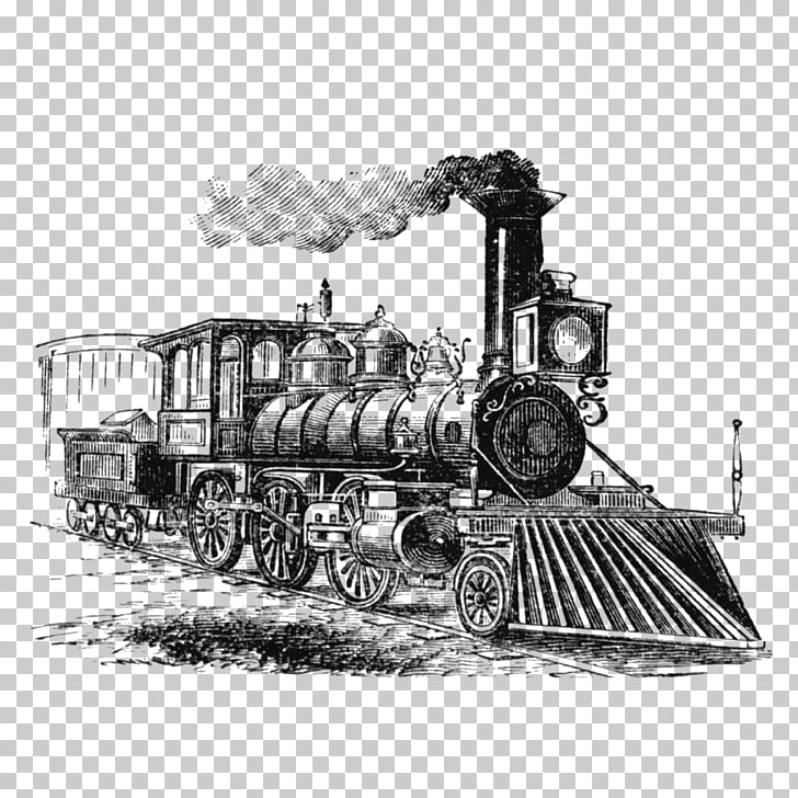 Train Rail transport Steam locomotive Drawing, saloon PNG.