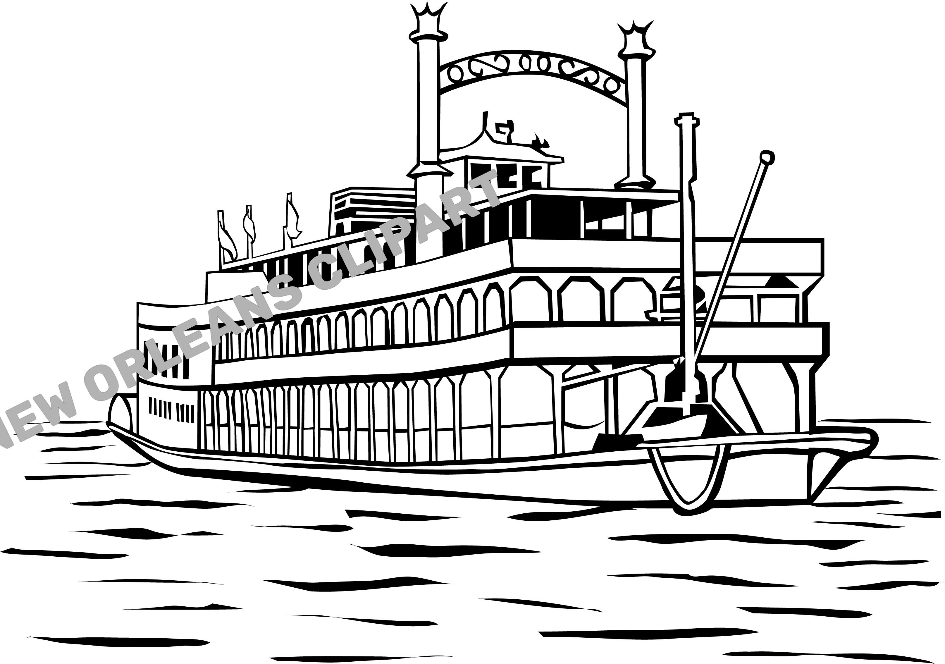 New Orleans Steam Boat Clip Art.