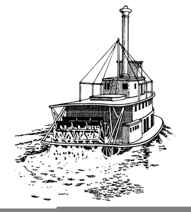 Paddle Steamboat Clipart.