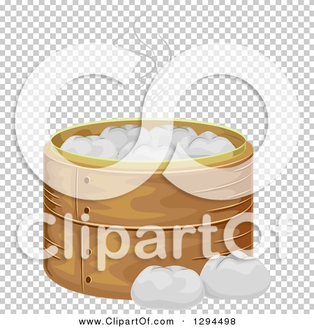 Clipart of a Bamboo Steamer Basket with Meat Buns.