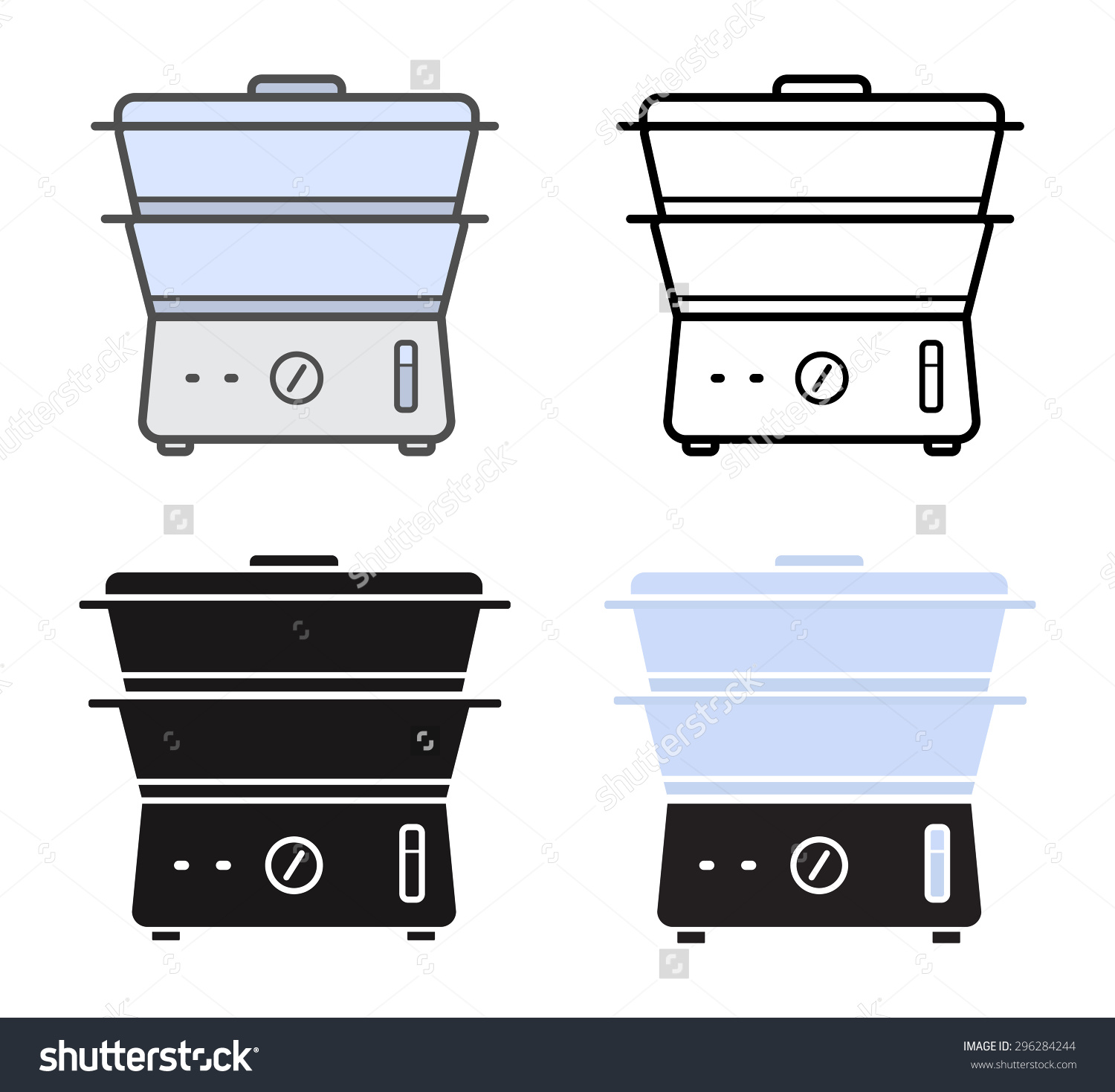 Kitchen Electric Steamer Icons. Color, Contour Lines, Silhouette.
