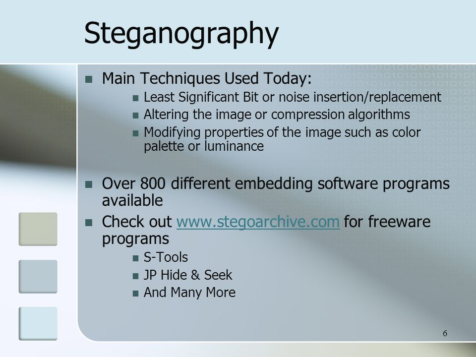 Introduction to Steganography & Steganalysis Laura Walters.