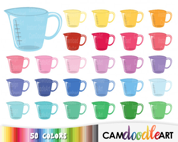 50 Measuring Cup Clipart, Baking Clipart, Kitchen Clipart.