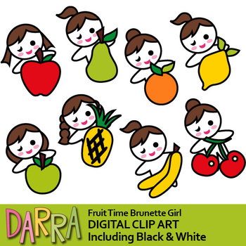 Fruit time brunette girl clip art (planner stickers clipart).