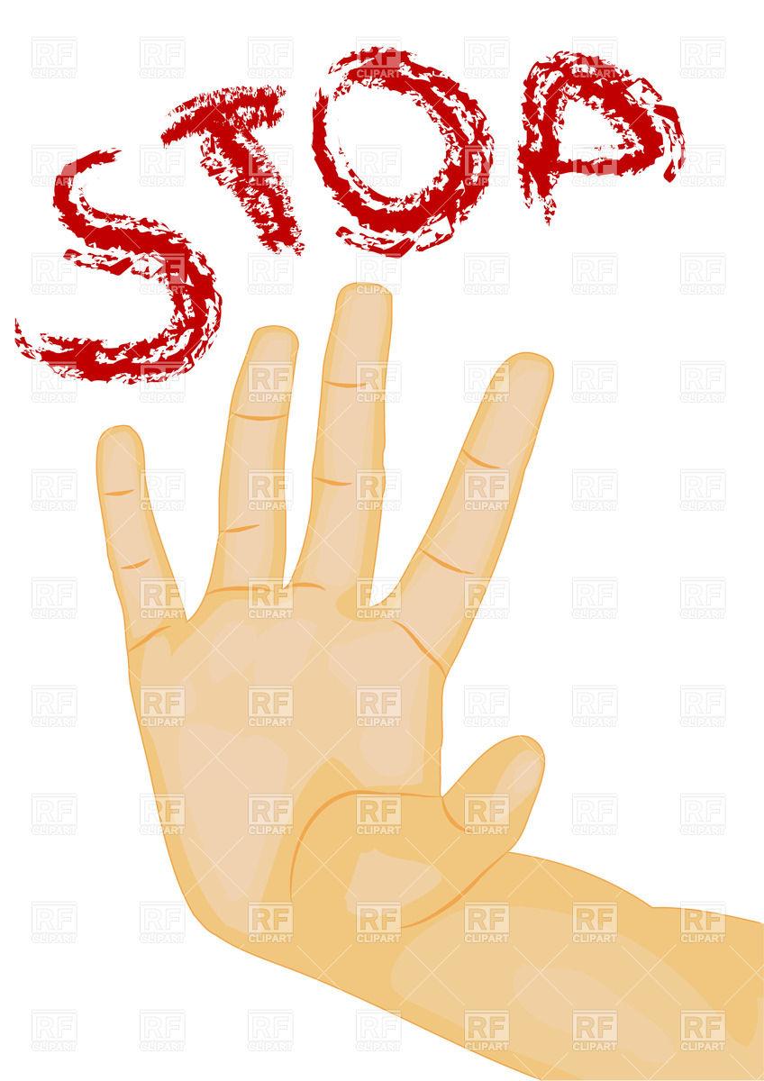 Hand gesture stop Stock Vector Image.