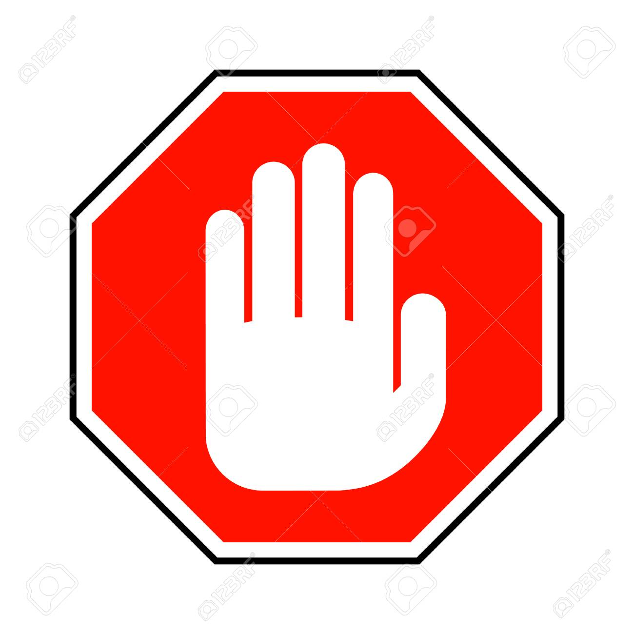 No entry hand sign. Vector illustration. Red stop hand sign isolated...