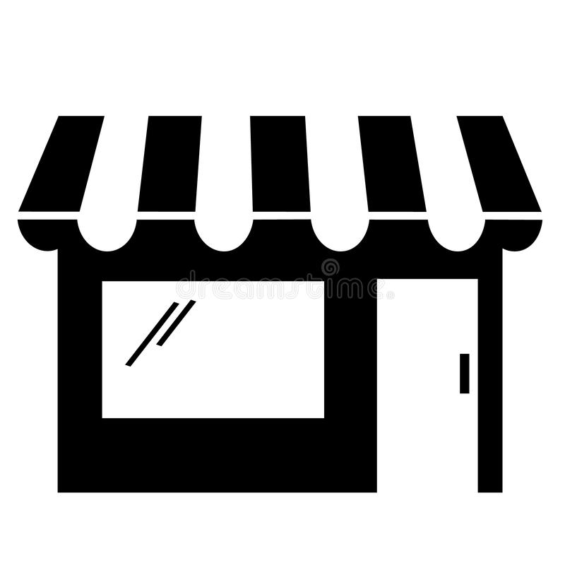 Black And White Storefront Clipart Stock Vector.
