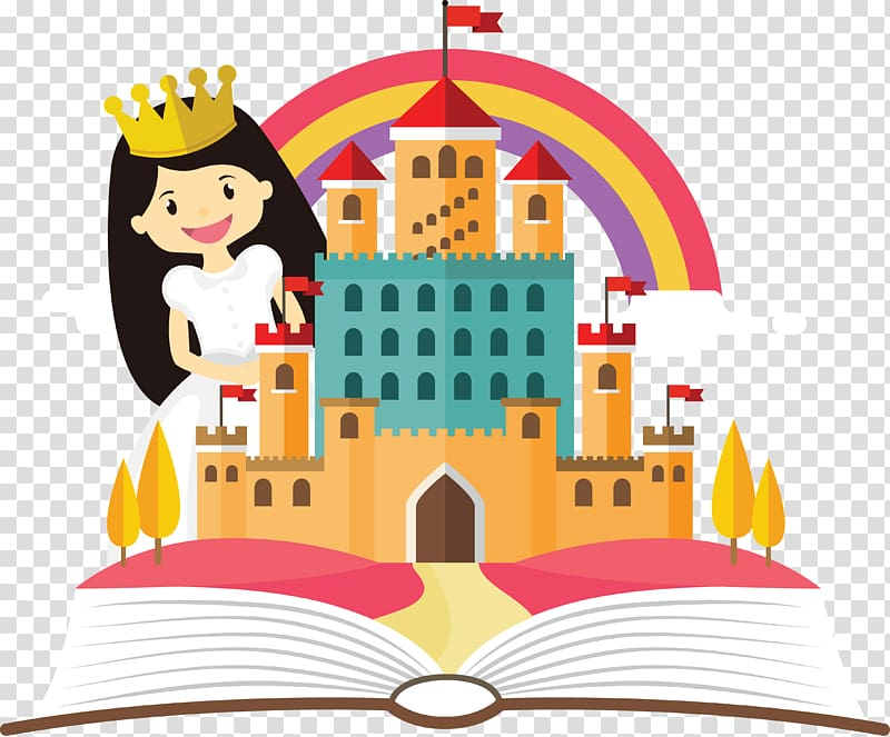 Princess in the storybook transparent background PNG clipart.