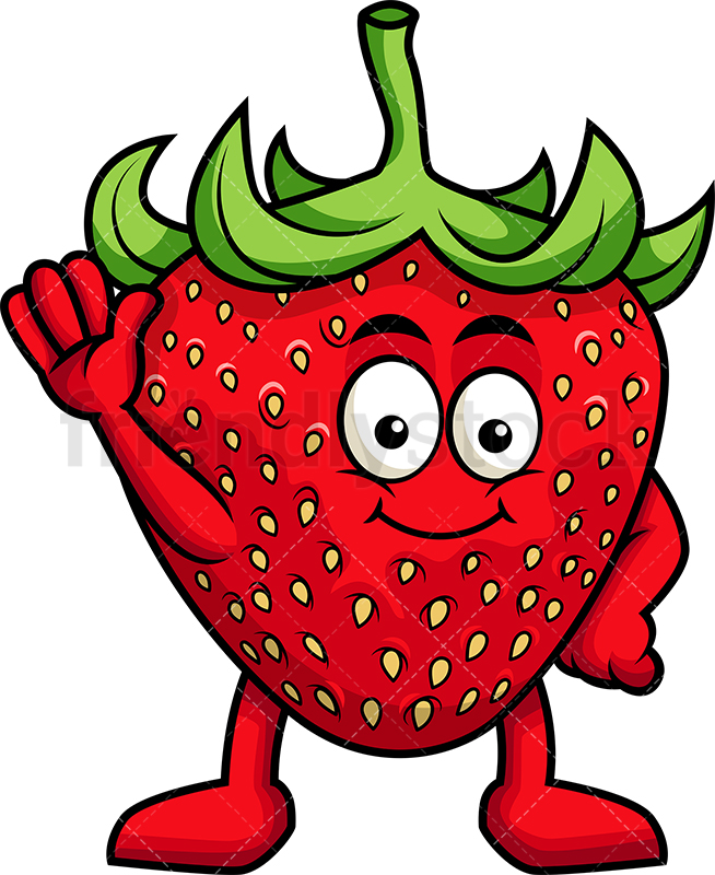 Cute Strawberry Mascot Waving.
