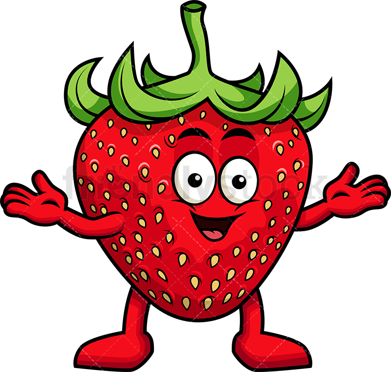 Happy Strawberry Mascot.