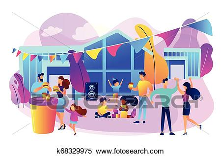 Street party concept vector illustration Clipart.
