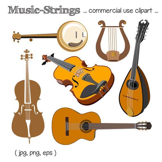 Music Clipart, String Instrument Clipart, Guitar Clipart, Violin Clipart,  Harp Clipart, Mandolin Clipart, Cello Clipart, Digital Download.