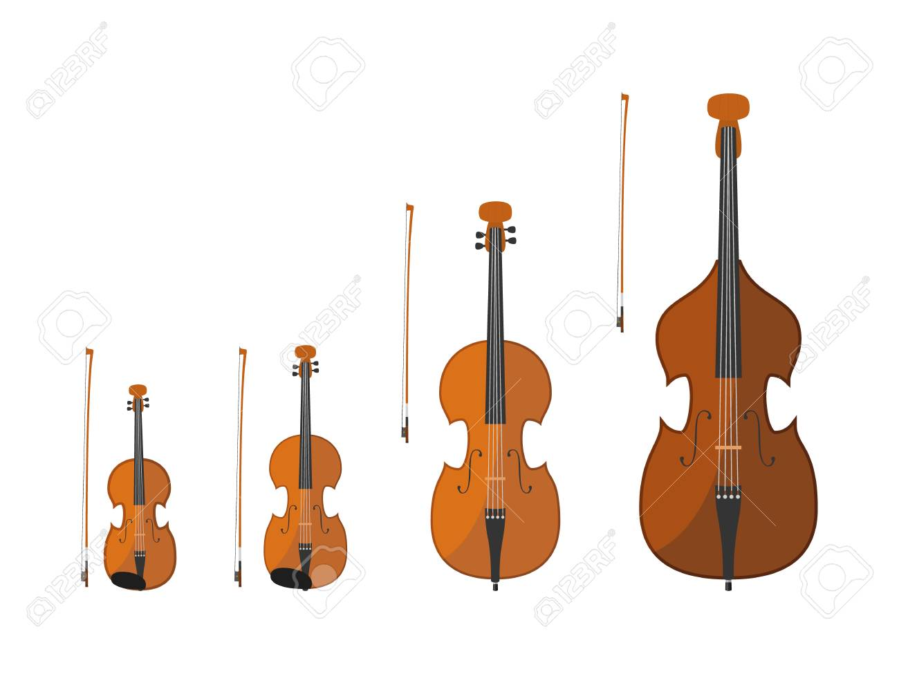 Vector illustration set of string instruments playing by bowing...