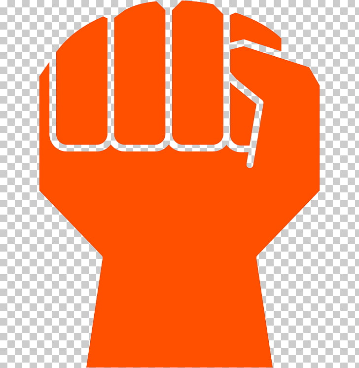 Raised fist , stroke PNG clipart.