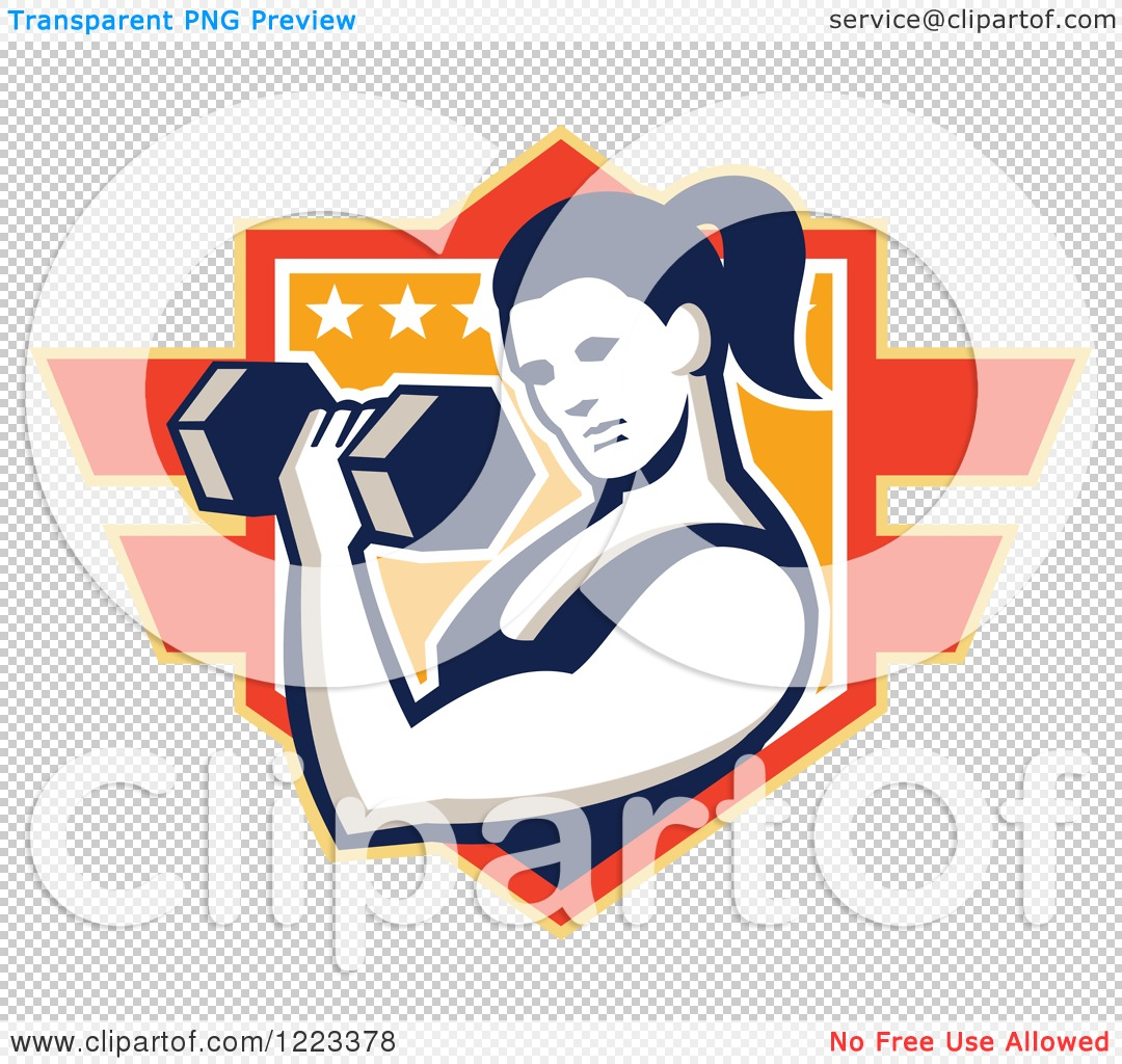 Clipart of a Strong Woman Doing Bicep Curls with a Dumbbell over a.
