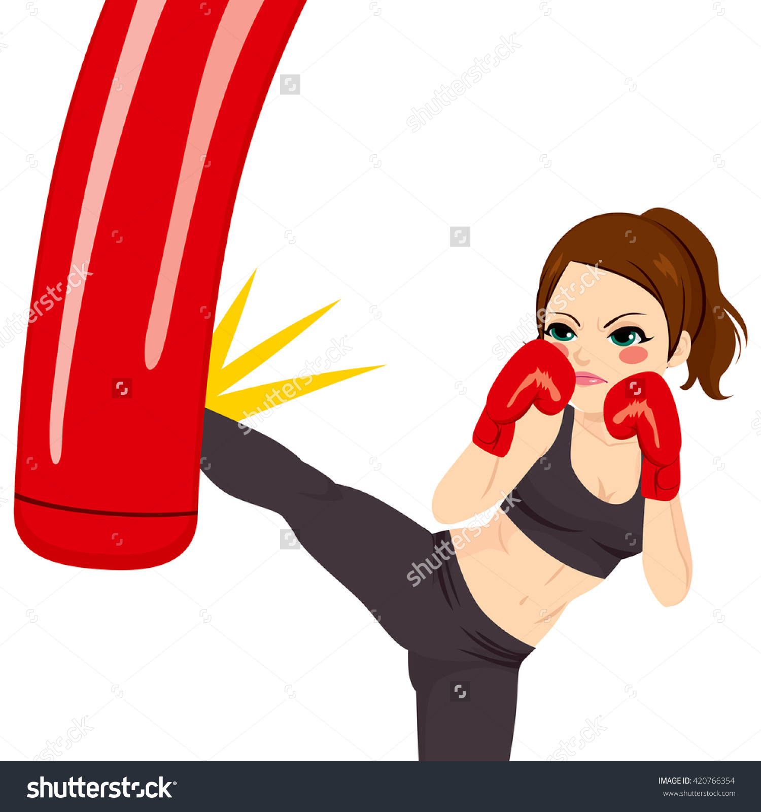 Young Strong Woman Kicking Red Punching Stock Vector 420766354.