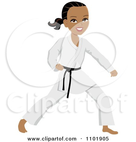 Clipart Strong Black Or Hispanic Karate Woman With A Black Belt.