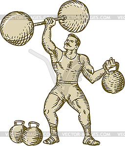 Strongman Lifting Barbell Kettlebell Etching.