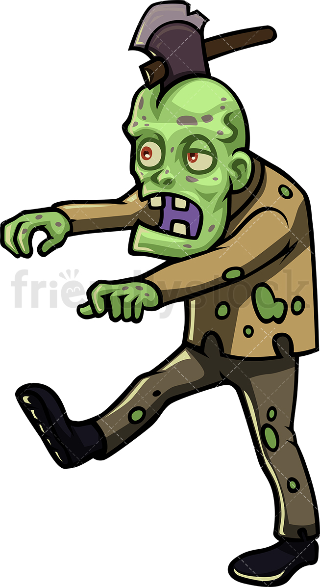 Scary Green Zombie With An Axe Stuck In His Head, Walking.