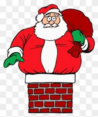 Father Christmas Stuck In Chimney Clipart (#3334867).