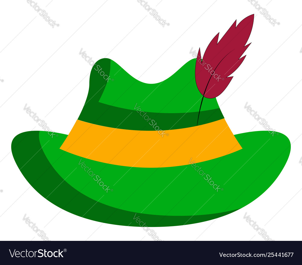 Clipart a green hat stuck with a feather or.