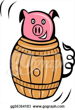 stuck in barrel. Clipart.