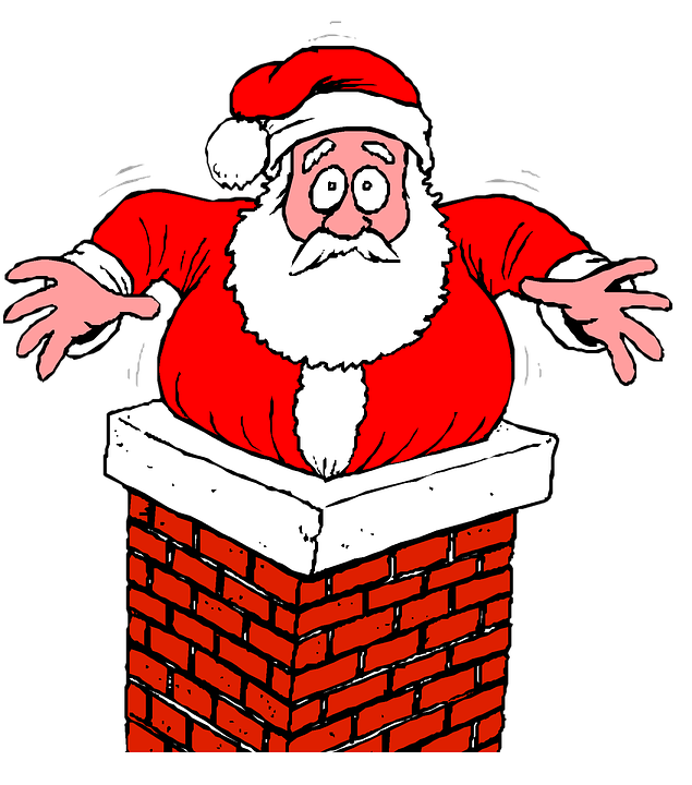 Santa, Chimney, Stuck, Christmas.