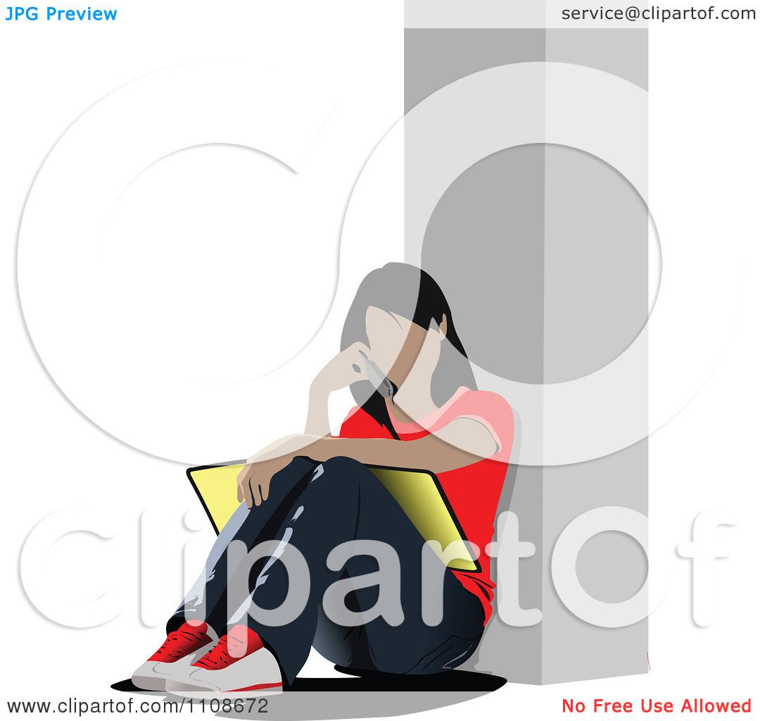 Clipart Female College Student Talking On Her Cell Phone And.