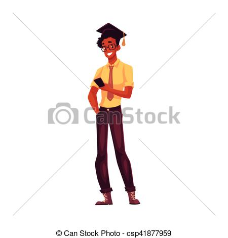 Clipart Vector of University student in square glasses and.