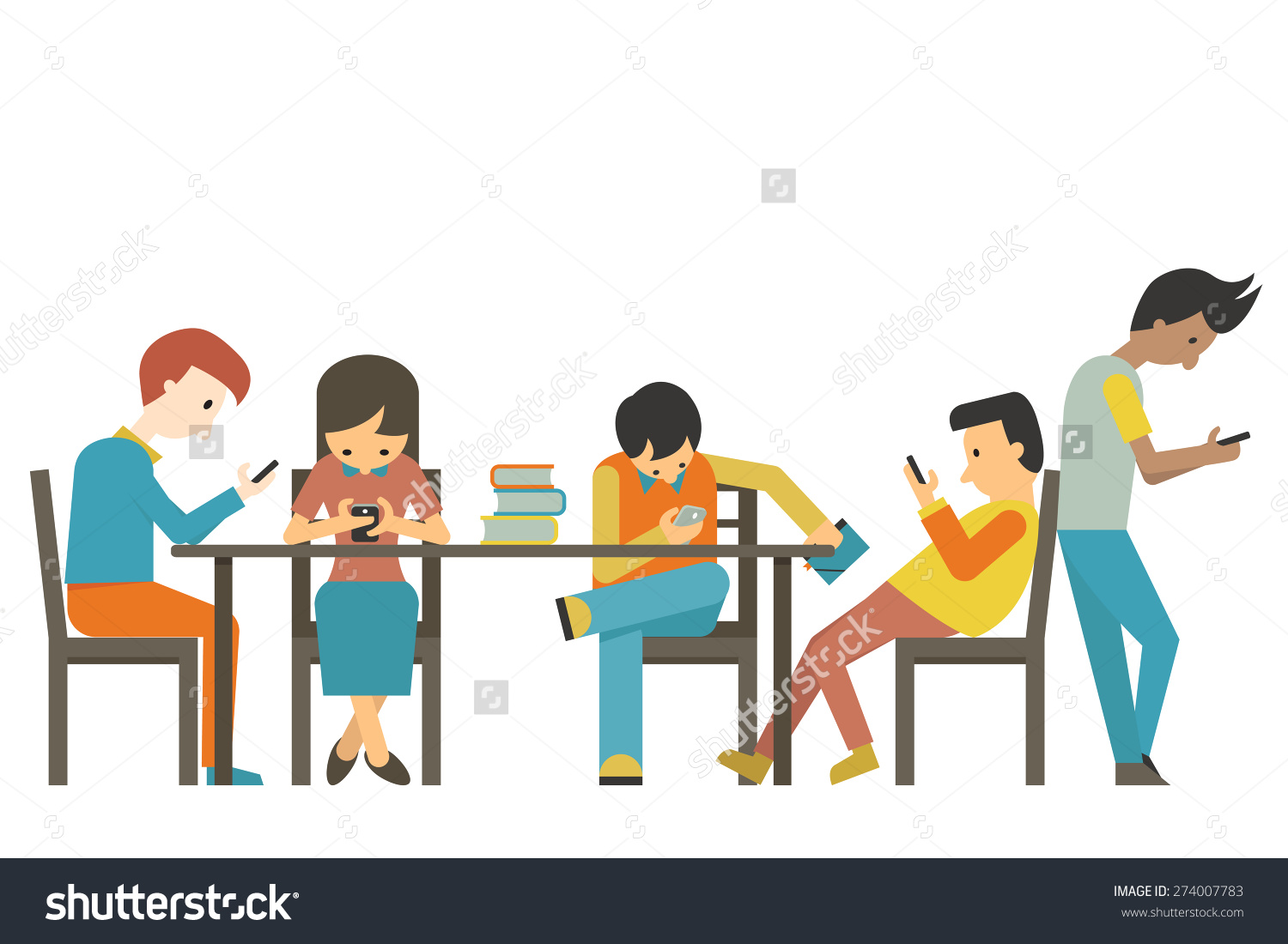 Group Student Teen Age Using Smartphone Stock Vector 274007783.