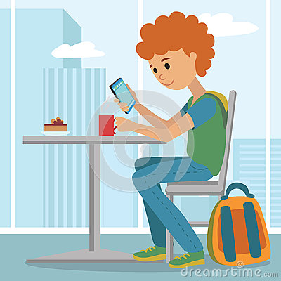 Student Using Tablet Computer Vector Illustration. Stock Vector.