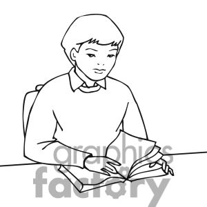 Clip art of Black and white outline of a student reading a book.