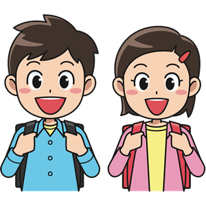 Students with backpacks clipart, cliparts of Students with backpacks.