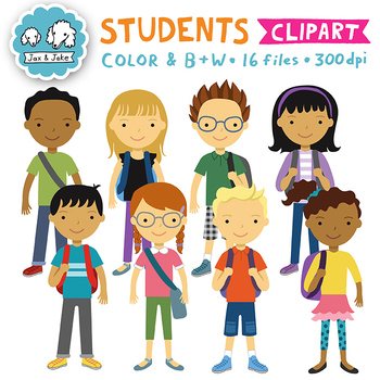 Student Clipart / Kids Back to School Clipart Personal Commercial Use OK.