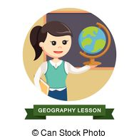 Clip Art of Teacher showing world map to student in geography.