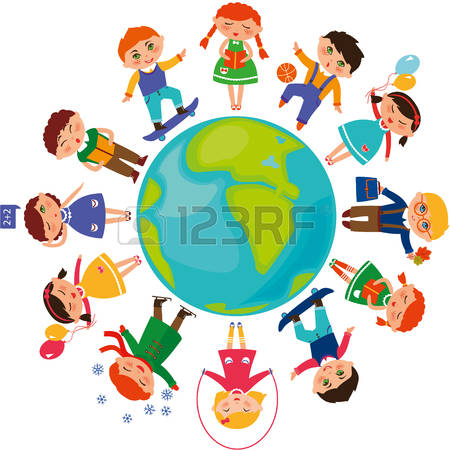 clipart students and world #6