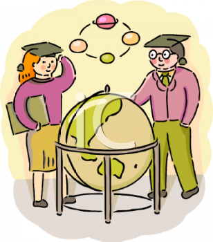 Geography Students Standing Around a World Globe.