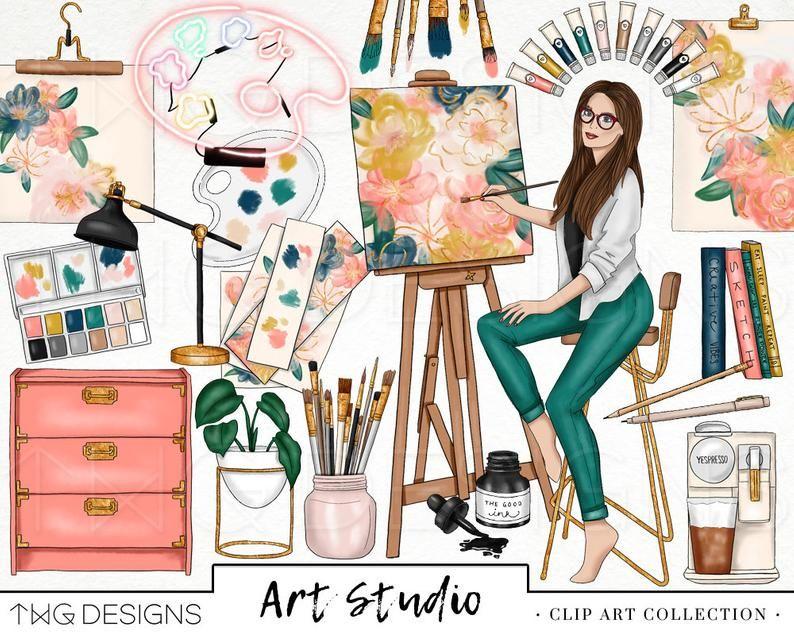Art Studio Fashion Girl Clip Art Watercolor Clipart Artist.